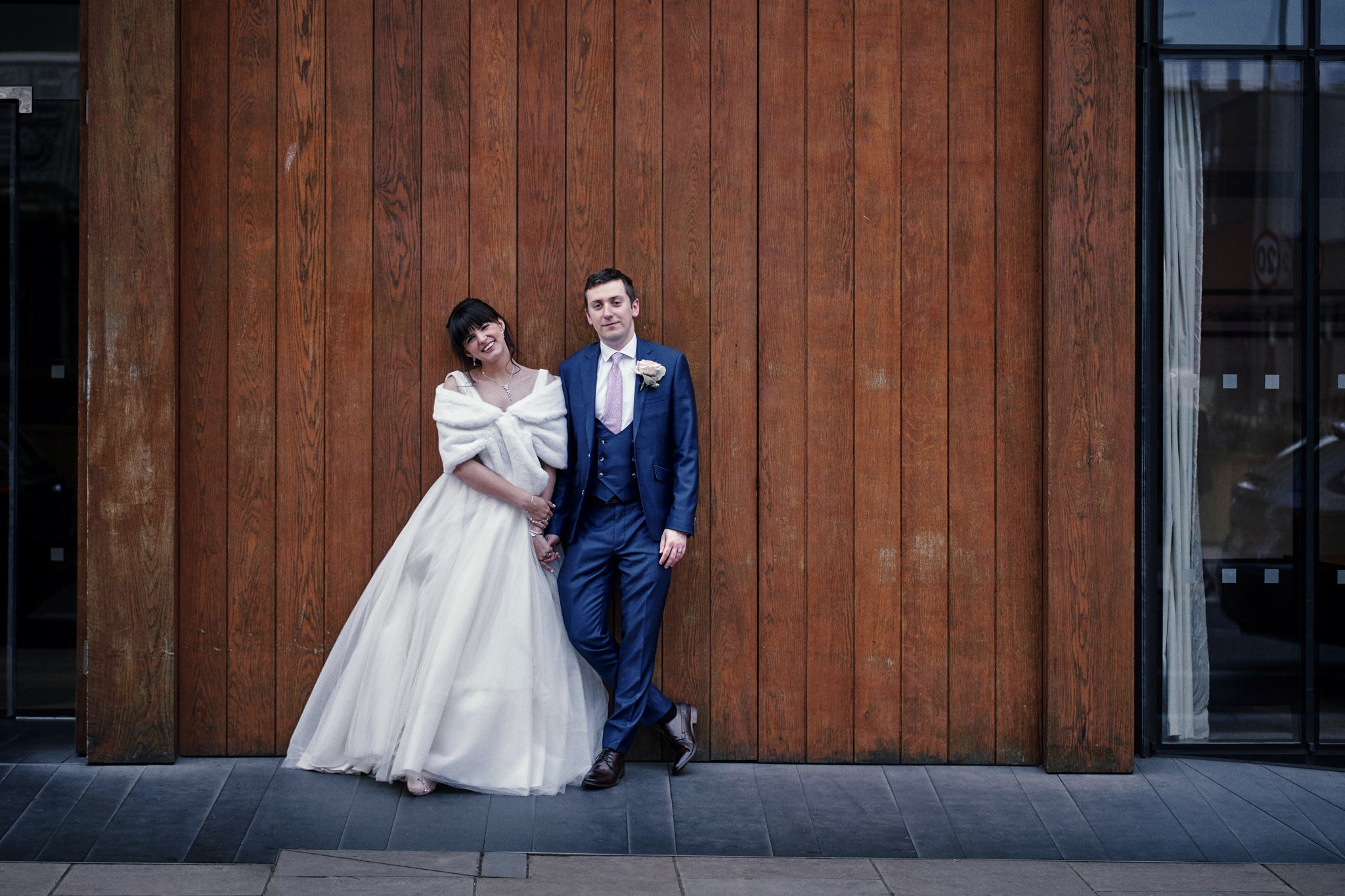 Bride and Groom outside Hope Street Hotel Liverpool