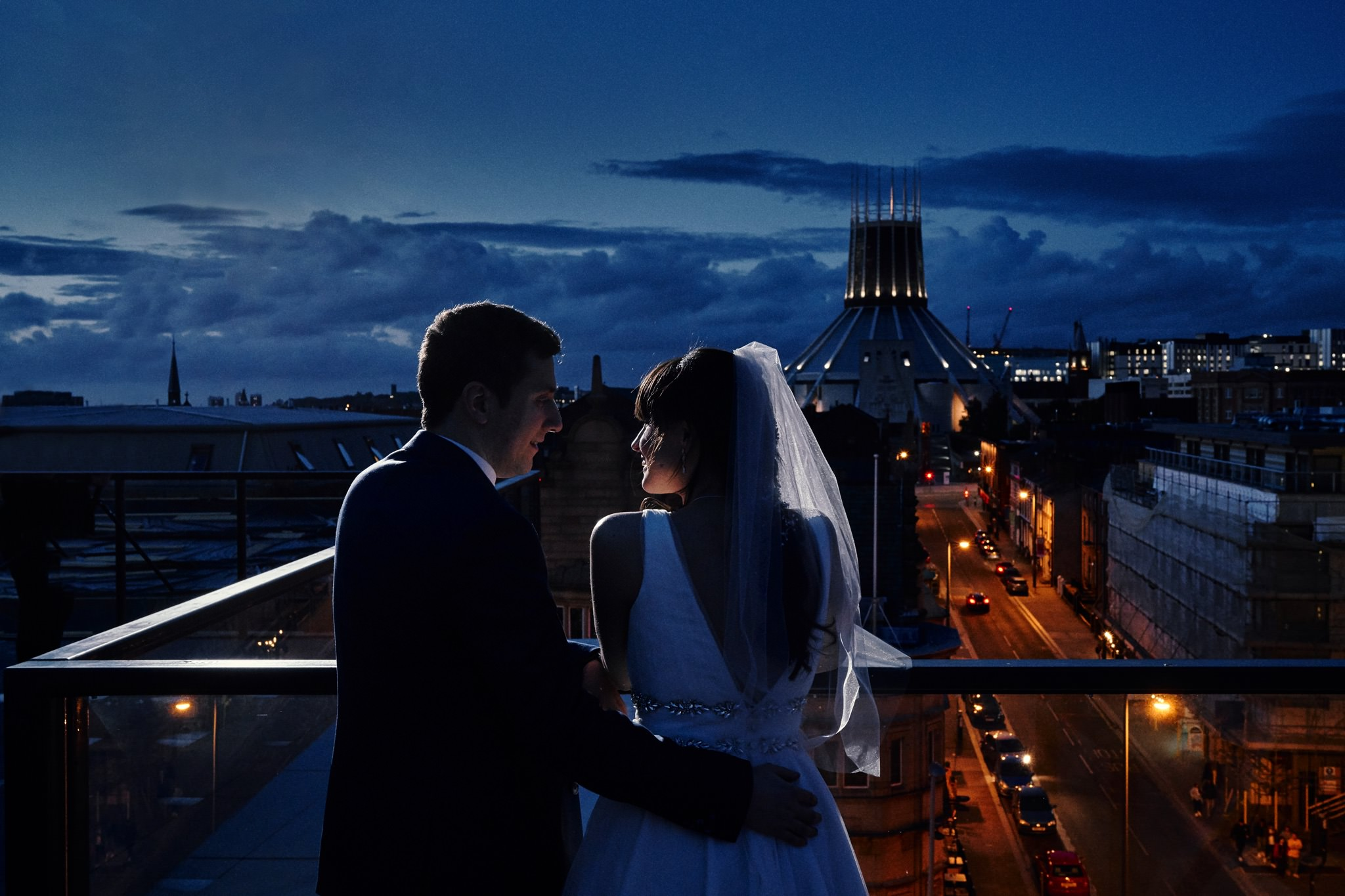 Moonlight wedding views over Liverpool