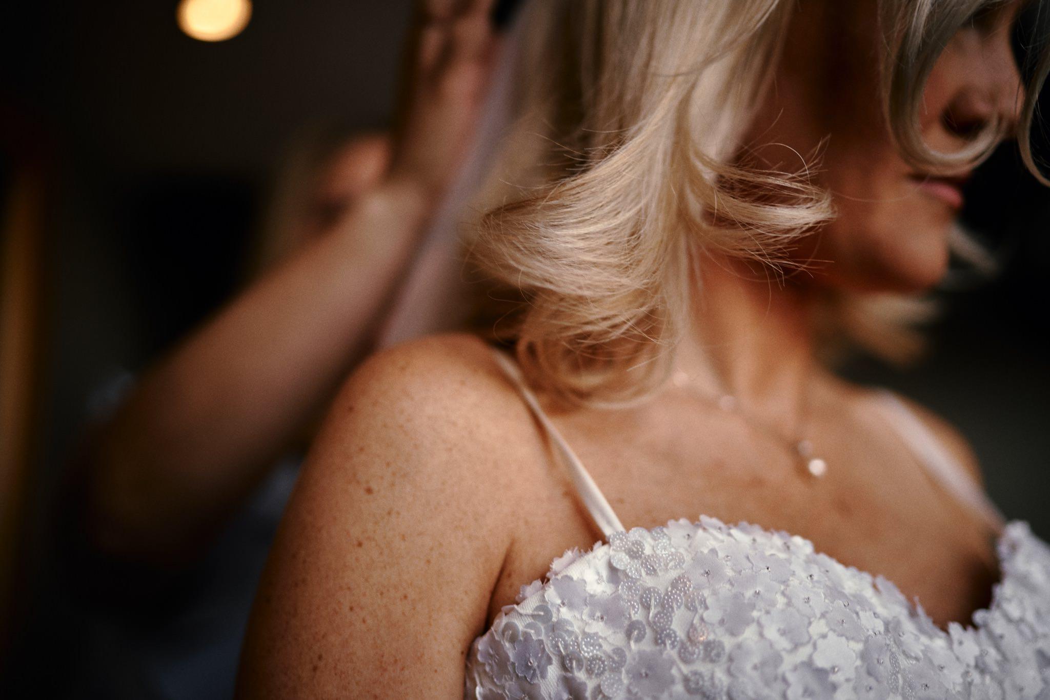 Bride during bride prep at the Hotel Du Vin, Henley-on-Thames