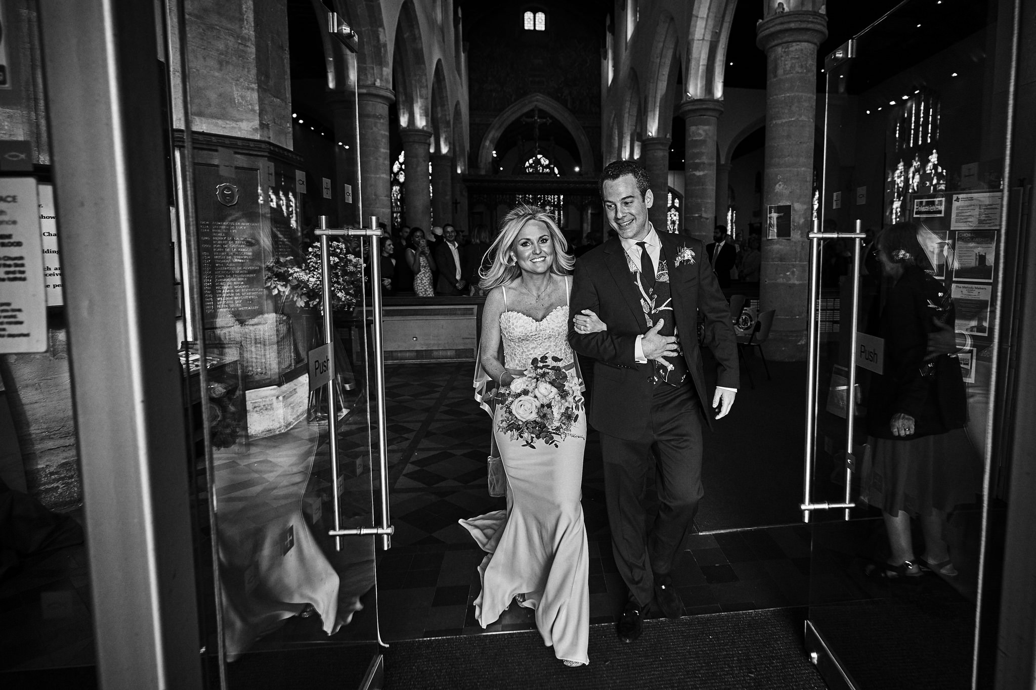 Bride and Groom leaving St Mary's Church, Henley-on-Thames