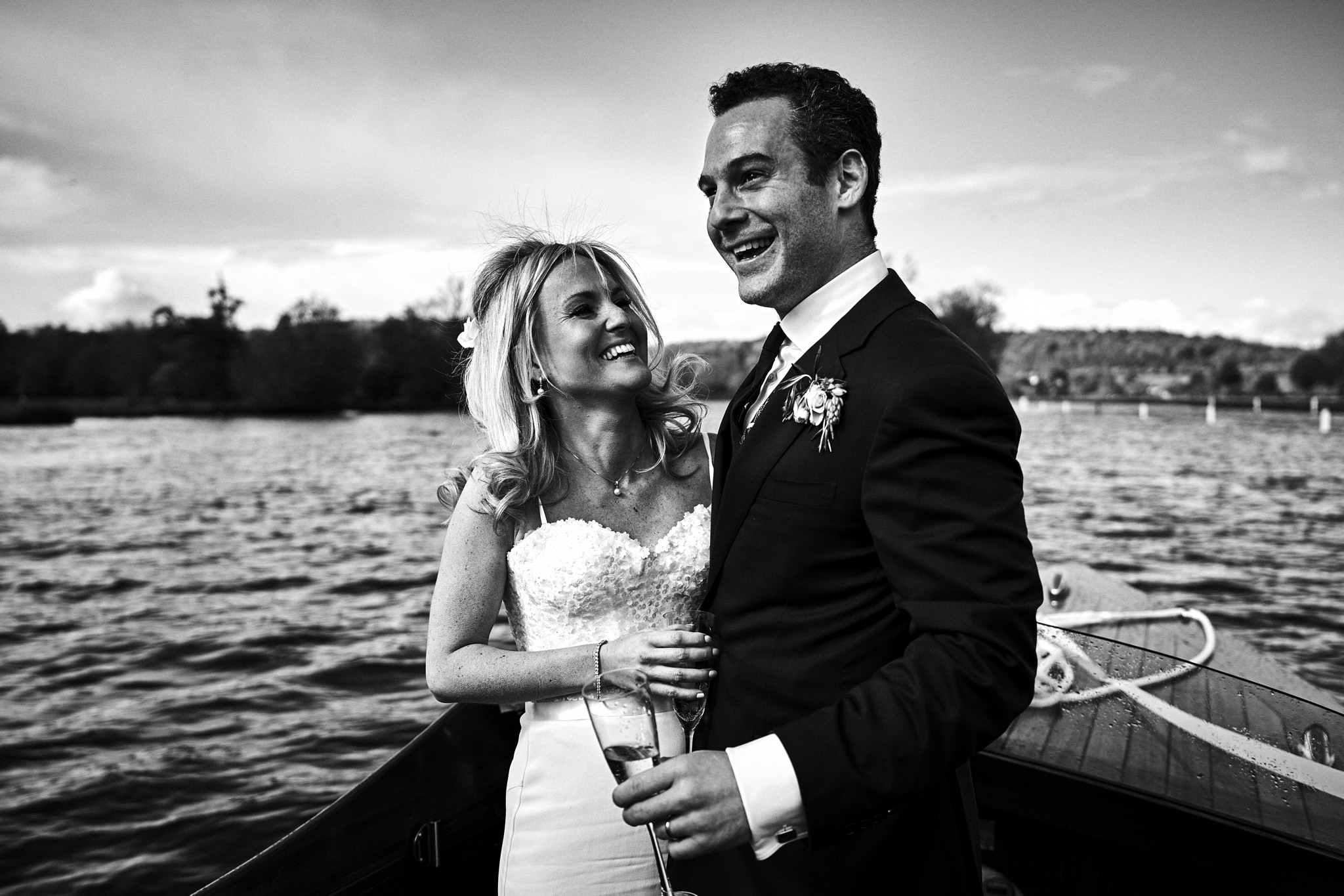 Bride and Groom on boat on the way to Temple Island, Henley-on-Thames