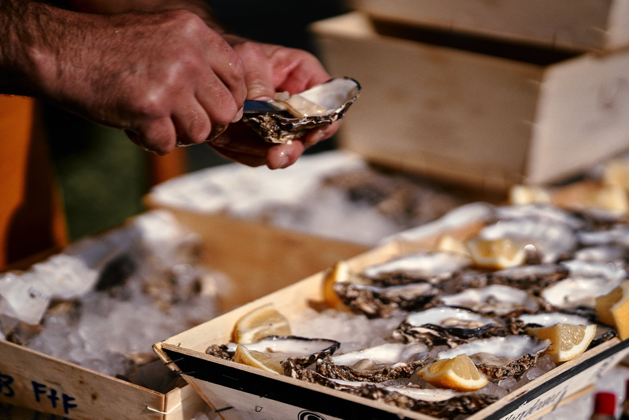 Chef serves Oysters at Wedding