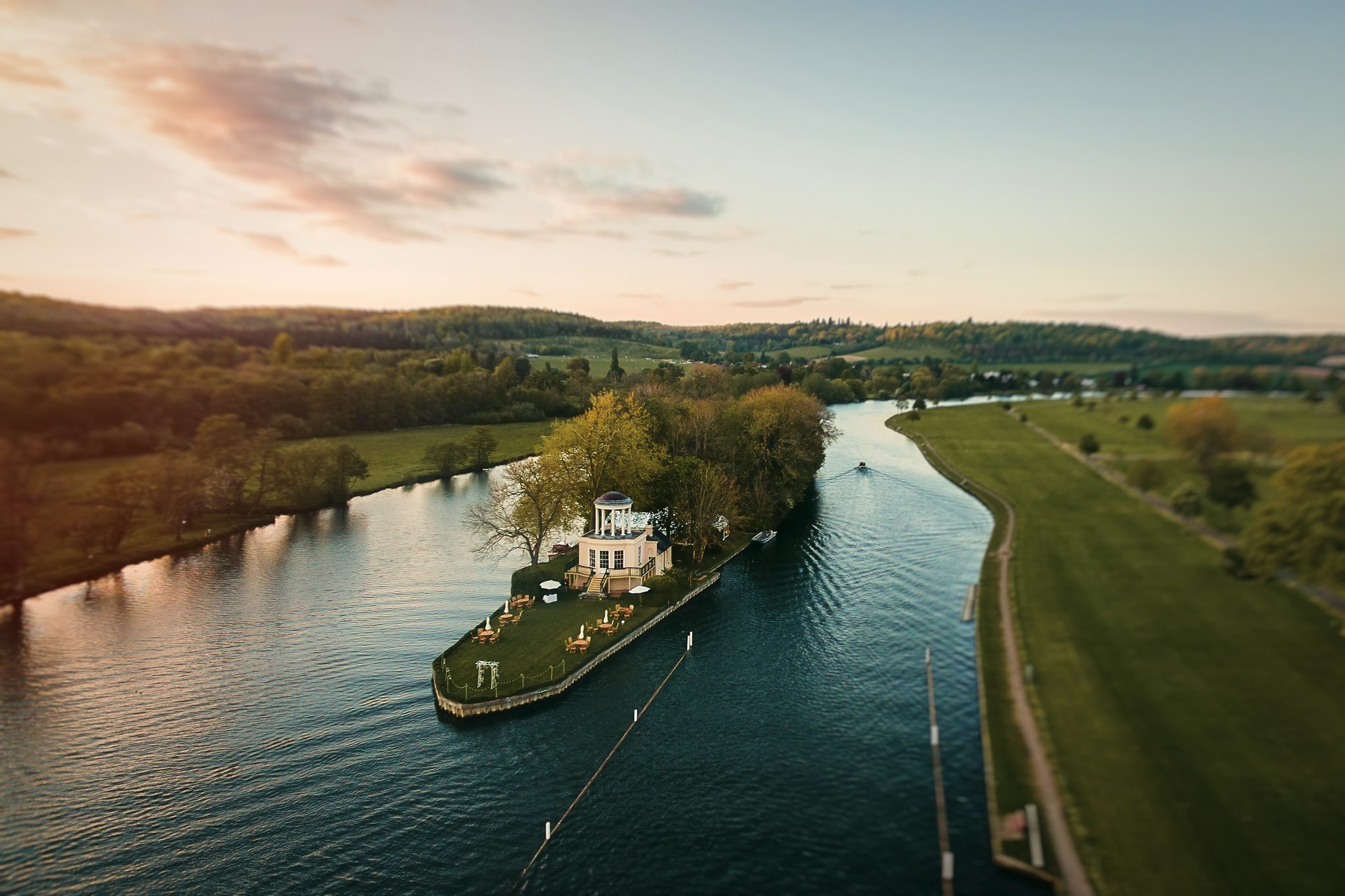 Aerial View of Temple Island Wedding Venue on the Thames