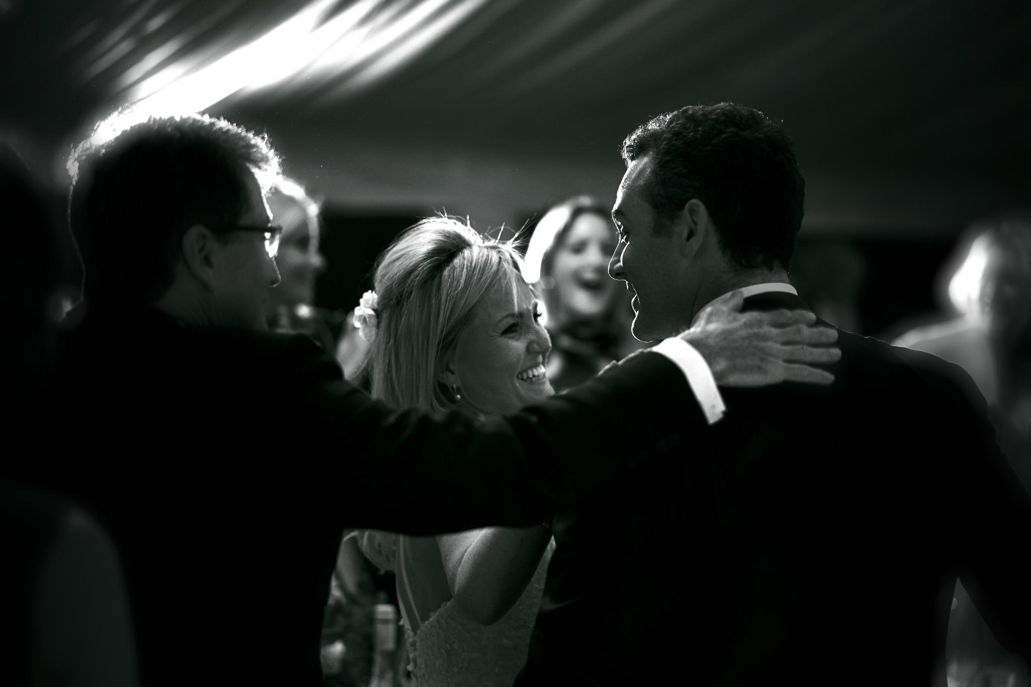 Father of the bride congratulates his new Son in Law