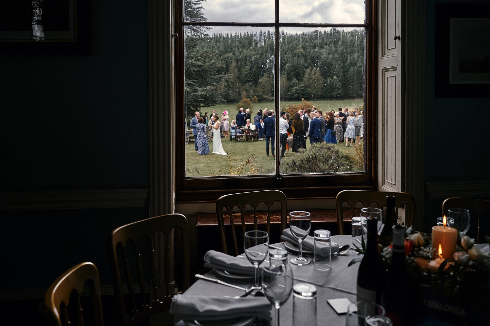 Window overlooking the wedding reception in the beautiful gardens at Walcott Hall Hotel, Shropshire.