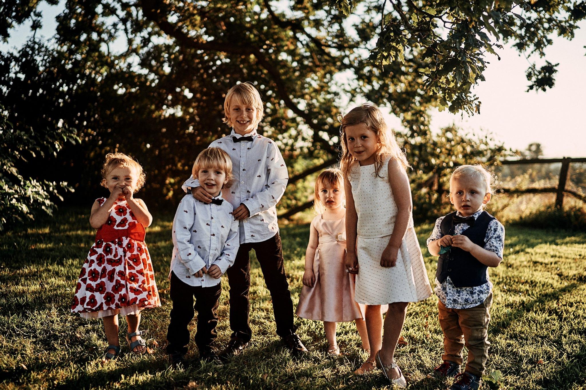 Cute informal groupshot of children at a wedding at Willington Hall Hotel, Tarporley, Cheshire