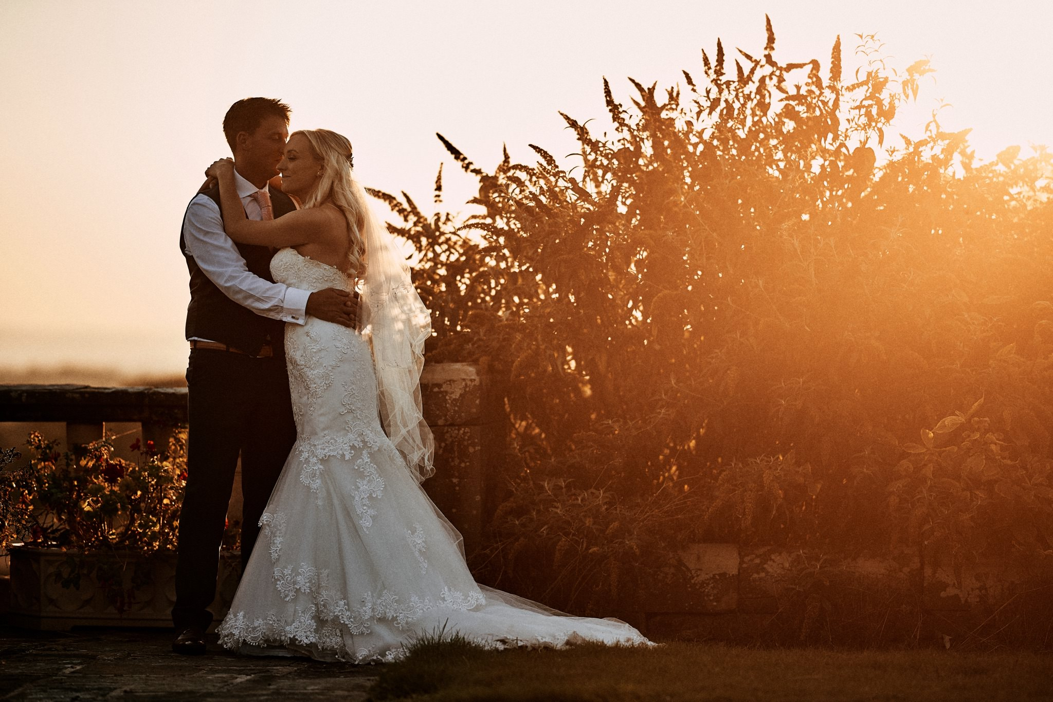Bride and Groom portrait in the sun at Willington Hall Hotel, Tarporley, Cheshire