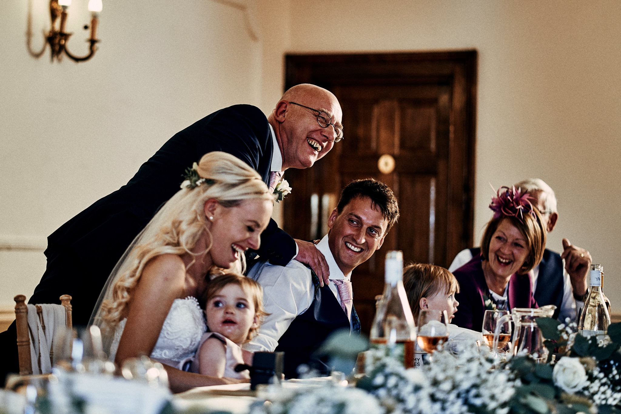 Dad delivers a joke during his speeches during a wedding at Willington Hall Hotel